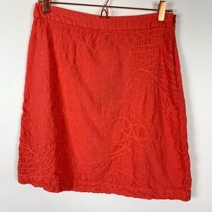 Tommy Bahama Sz 2 Orange Linen Pick Leaf Skirt
